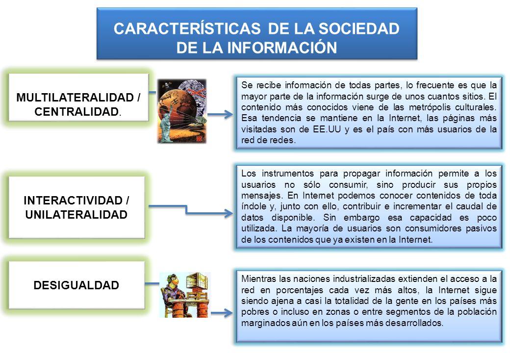 MULTILATERALIDAD / CENTRALIDAD. CARACTERÍSTICAS DE LA SOCIEDAD DE LA INFORMACIÓN Se recibe información de todas partes, lo frecuente es que la mayor p