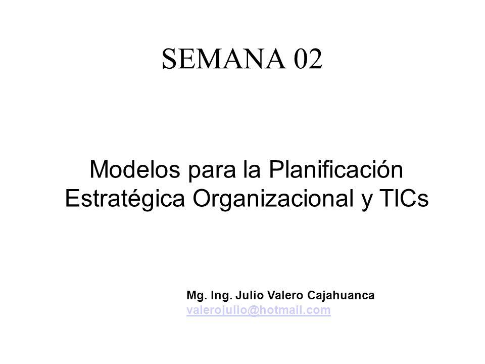 SEMANA 02 Modelos para la Planificación Estratégica Organizacional y TICs Mg. Ing. Julio Valero Cajahuanca valerojulio@hotmail.com