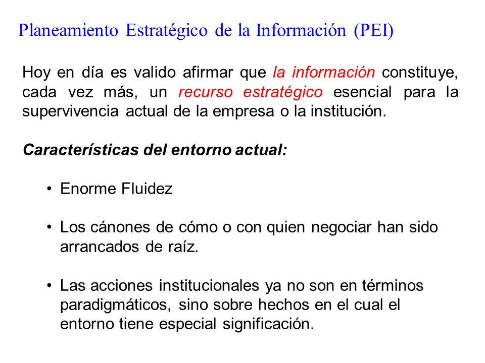Planeamiento Estratégico de la Información (PEI) Hoy en día es valido afirmar que la información constituye, cada vez más, un recurso estratégico esen