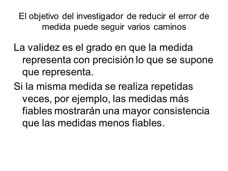 El objetivo del investigador de reducir el error de medida puede seguir varios caminos La validez es el grado en que la medida representa con precisió