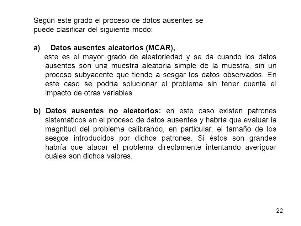 22 Según este grado el proceso de datos ausentes se puede clasificar del siguiente modo: a)Datos ausentes aleatorios (MCAR), este es el mayor grado de