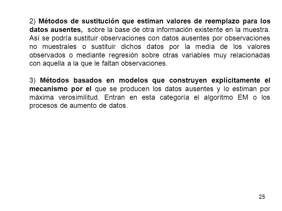 25 2) Métodos de sustitución que estiman valores de reemplazo para los datos ausentes, sobre la base de otra información existente en la muestra. Así