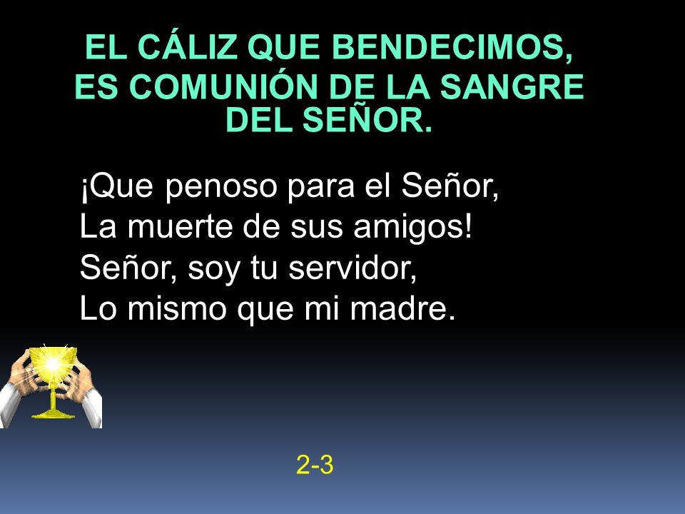 ¡Que penoso para el Señor, La muerte de sus amigos! Señor, soy tu servidor, Lo mismo que mi madre. 2-3 EL CÁLIZ QUE BENDECIMOS, ES COMUNIÓN DE LA SANG