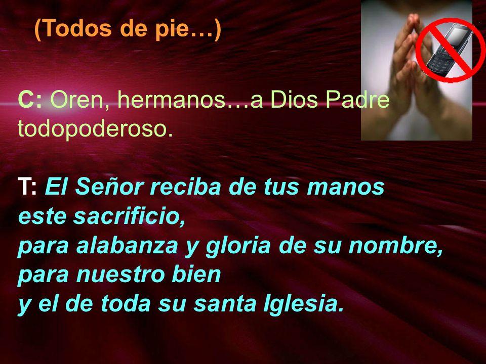 C: Oren, hermanos…a Dios Padre todopoderoso. T: El Señor reciba de tus manos este sacrificio, para alabanza y gloria de su nombre, para nuestro bien y