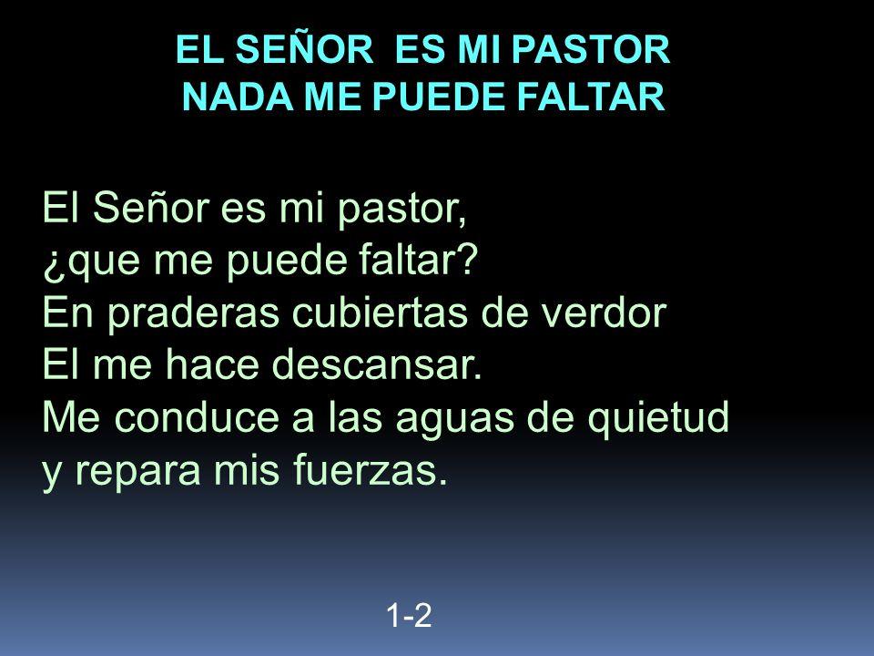 1-2 El Señor es mi pastor, ¿que me puede faltar? En praderas cubiertas de verdor El me hace descansar. Me conduce a las aguas de quietud y repara mis