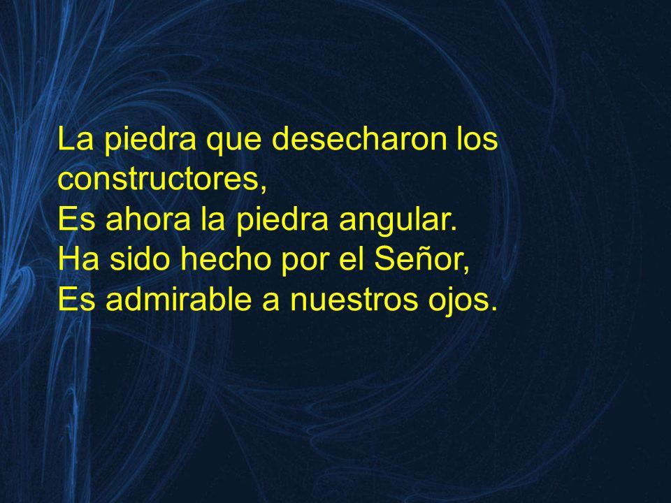 La piedra que desecharon los constructores, Es ahora la piedra angular. Ha sido hecho por el Señor, Es admirable a nuestros ojos.