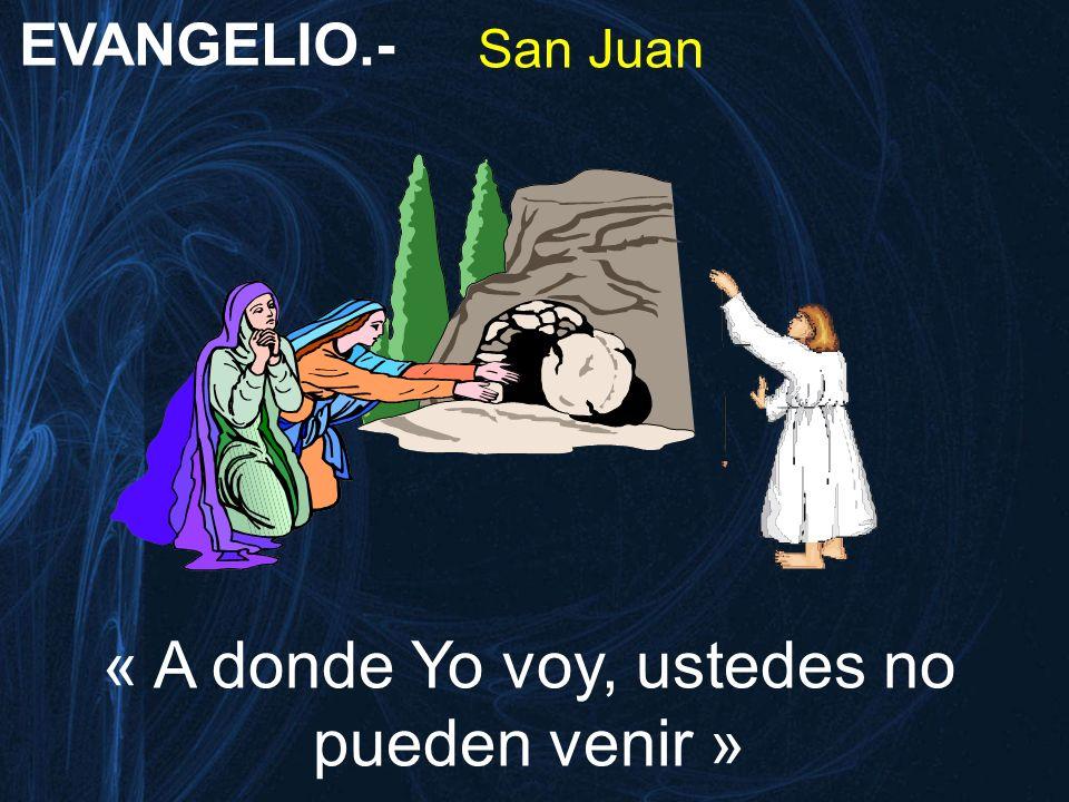 EVANGELIO.- San Juan « A donde Yo voy, ustedes no pueden venir »