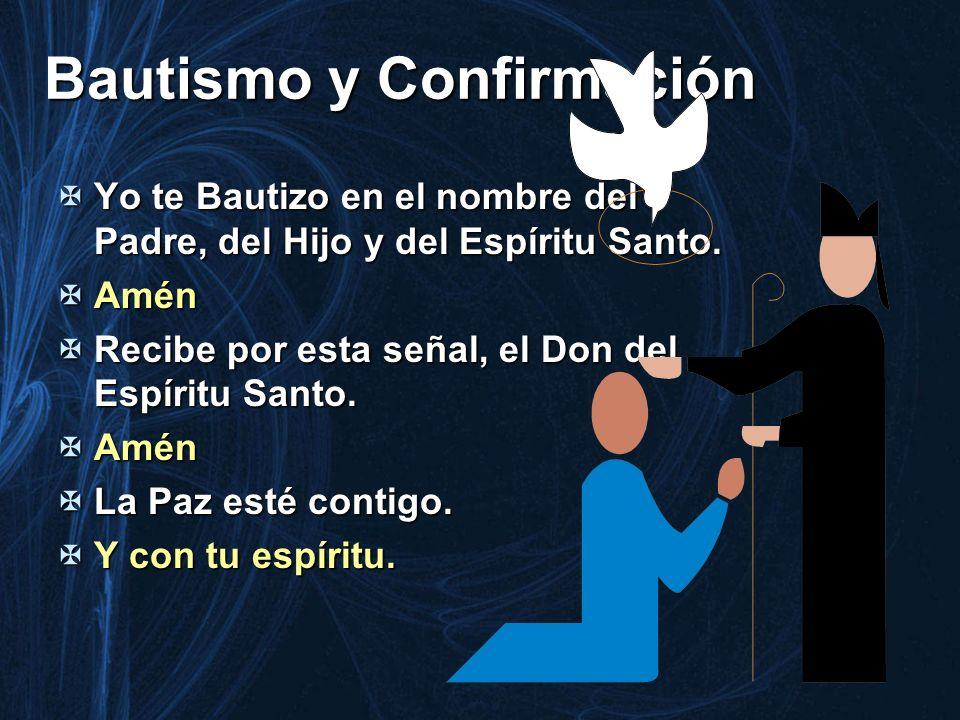 Bautismo y Confirmación Yo te Bautizo en el nombre del Padre, del Hijo y del Espíritu Santo. Yo te Bautizo en el nombre del Padre, del Hijo y del Espí