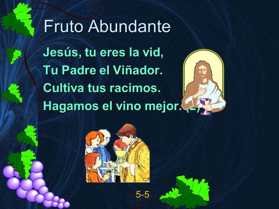 Fruto Abundante Jesús, tu eres la vid, Tu Padre el Viñador. Cultiva tus racimos. Hagamos el vino mejor. (2) 5-5