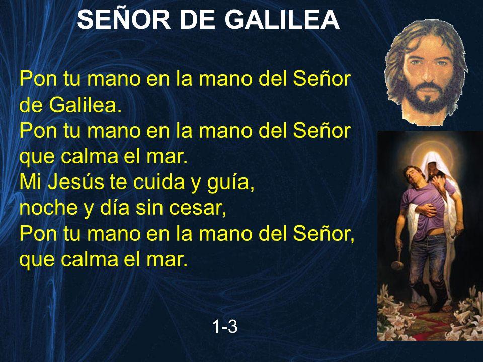 SEÑOR DE GALILEA 1-3 Pon tu mano en la mano del Señor de Galilea. Pon tu mano en la mano del Señor que calma el mar. Mi Jesús te cuida y guía, noche y