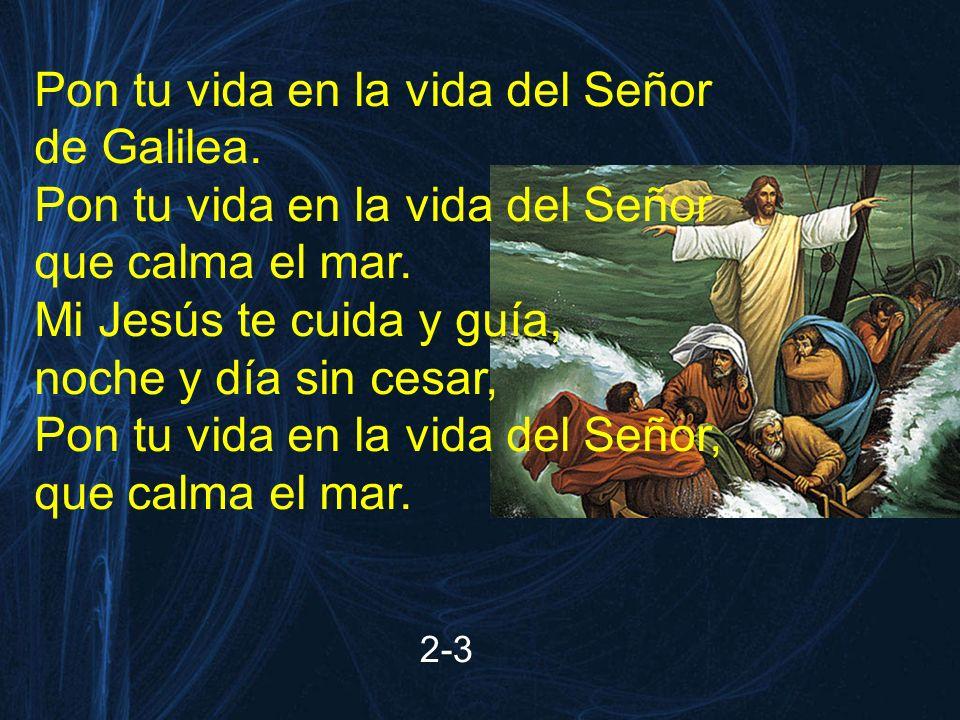 2-3 Pon tu vida en la vida del Señor de Galilea. Pon tu vida en la vida del Señor que calma el mar. Mi Jesús te cuida y guía, noche y día sin cesar, P