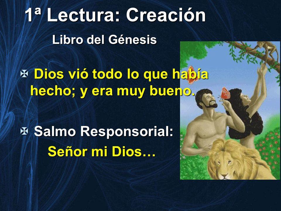 1ª Lectura: Creación Libro del Génesis Dios vió todo lo que había hecho; y era muy bueno. Dios vió todo lo que había hecho; y era muy bueno. Salmo Res