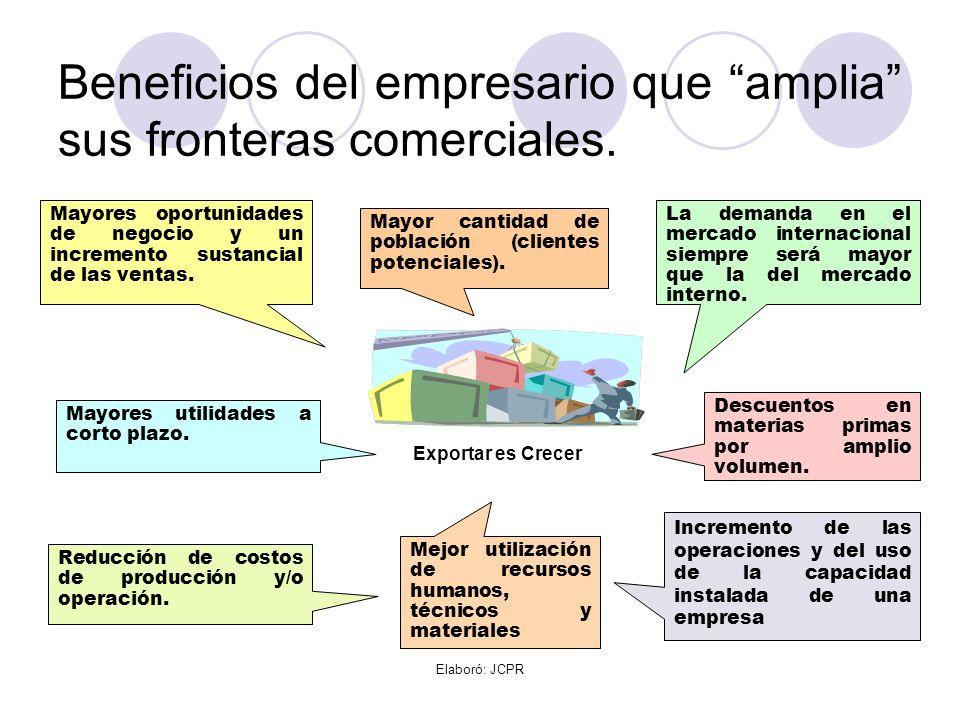 Elaboró: JCPR Beneficios del empresario que amplia sus fronteras comerciales. Exportar es Crecer La demanda en el mercado internacional siempre será m