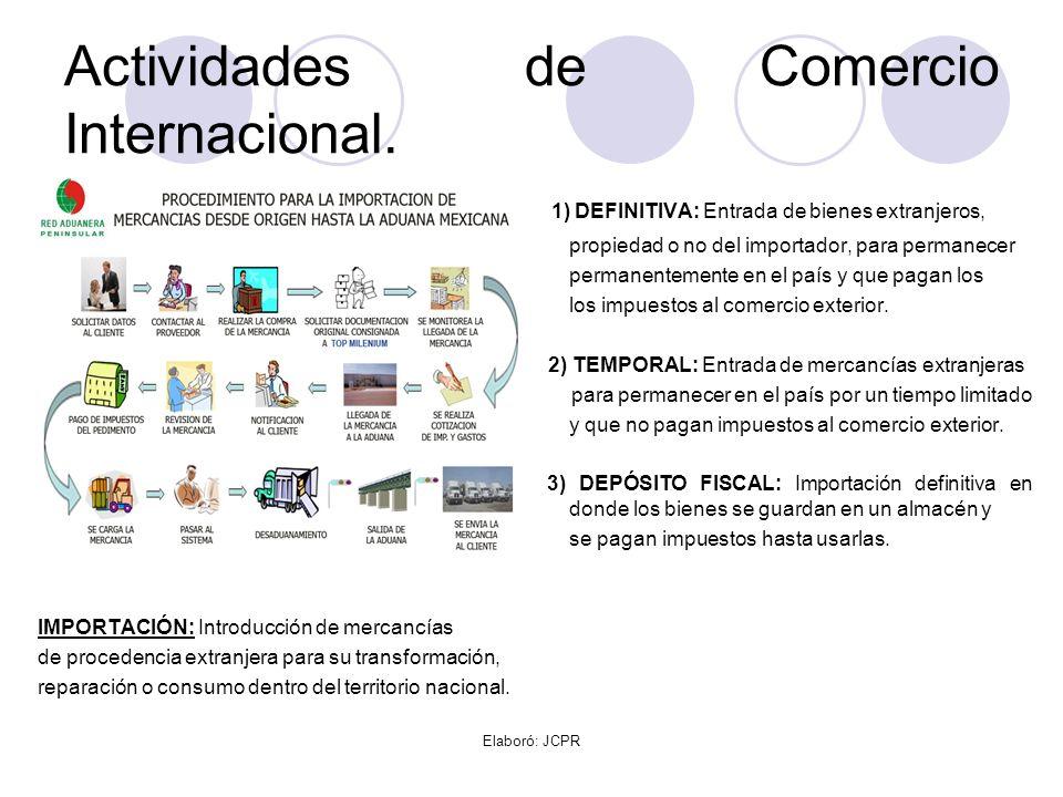Elaboró: JCPR Actividades de Comercio Internacional. 1) DEFINITIVA: Entrada de bienes extranjeros, propiedad o no del importador, para permanecer perm