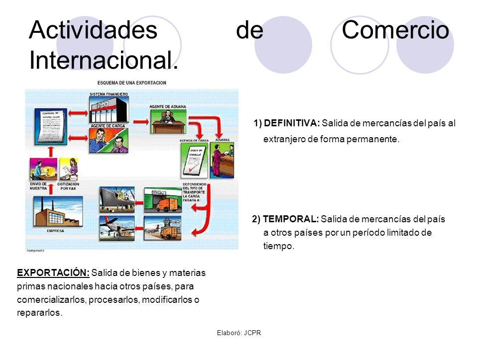 Elaboró: JCPR Actividades de Comercio Internacional. 1) DEFINITIVA: Salida de mercancías del país al extranjero de forma permanente. 2) TEMPORAL: Sali
