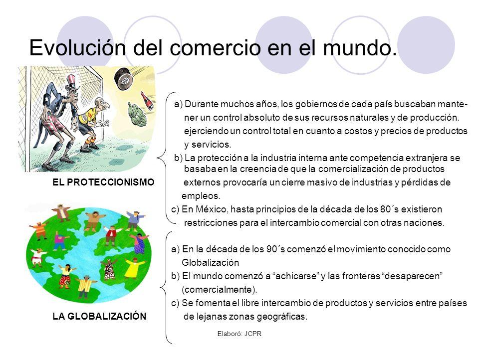 Elaboró: JCPR Evolución del comercio en el mundo. a) Durante muchos años, los gobiernos de cada país buscaban mante- ner un control absoluto de sus re