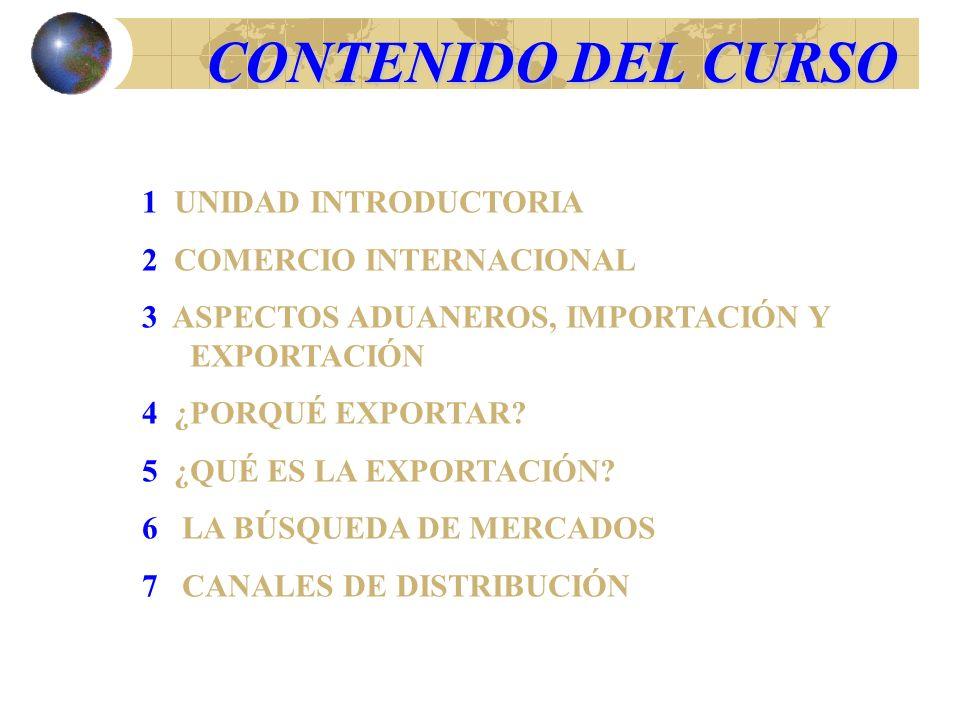 CONTENIDO DEL CURSO 8 FORMACIÓN DEL PRECIO DE EXPORTACIÓN 9 DOCUMENTACIÓN DE EXPORTACIÓN, ESPECIALMENTE CONTRATOS 10 TRANSPORTE 11 EMBALAJE DE CARGA 12 SEGURO DE CARGA 13 MEDIOS DE PAGO 14 FINANCIACIÓN DE LAS EXPORTACIONES 15 REVISIÓN GENERAL, JUEGO DE NEGOCIOS