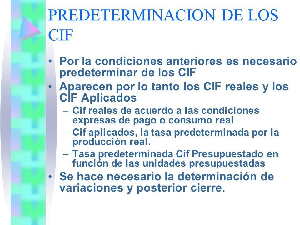 PREDETERMINACION DE LOS CIF Por la condiciones anteriores es necesario predeterminar de los CIF Aparecen por lo tanto los CIF reales y los CIF Aplicad