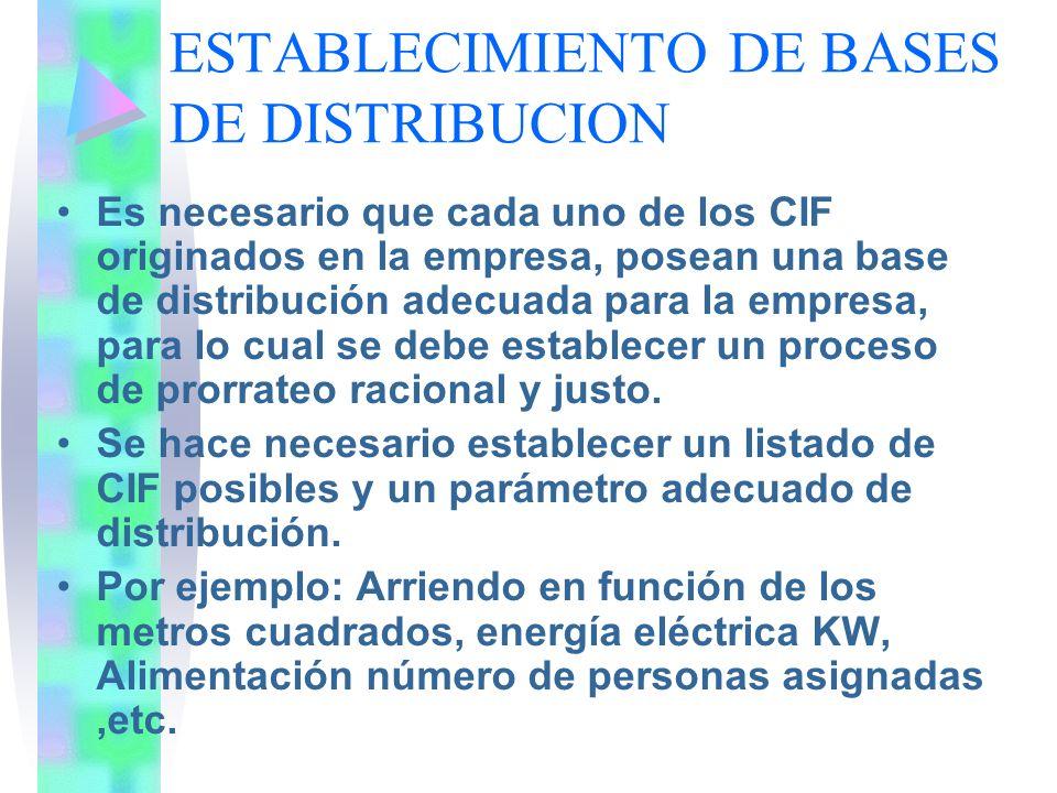 ESTABLECIMIENTO DE BASES DE DISTRIBUCION Es necesario que cada uno de los CIF originados en la empresa, posean una base de distribución adecuada para