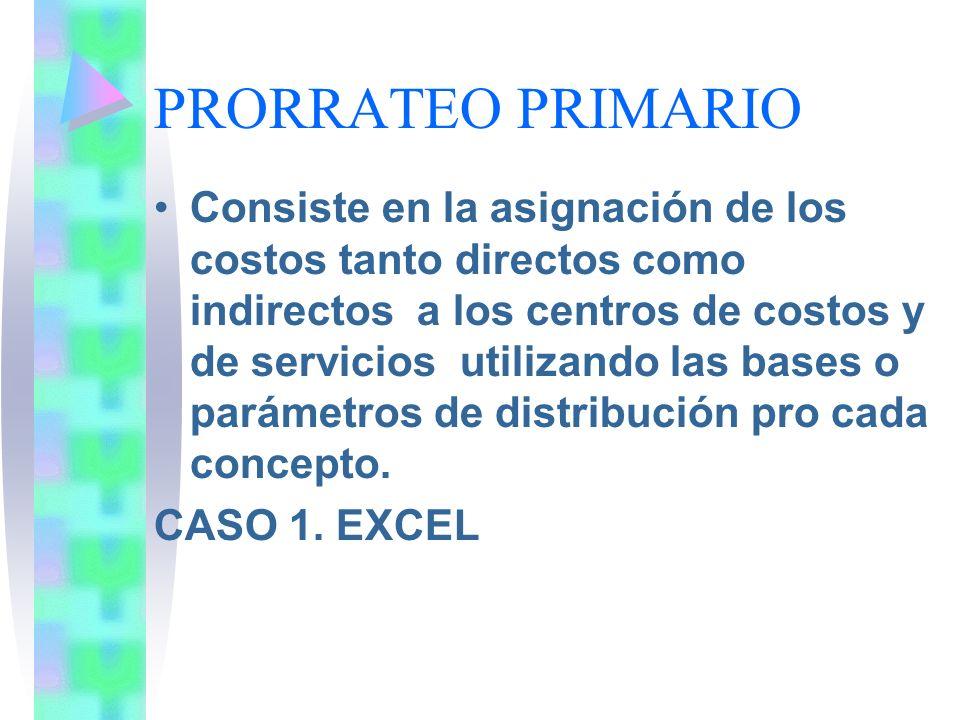 PRORRATEO PRIMARIO Consiste en la asignación de los costos tanto directos como indirectos a los centros de costos y de servicios utilizando las bases