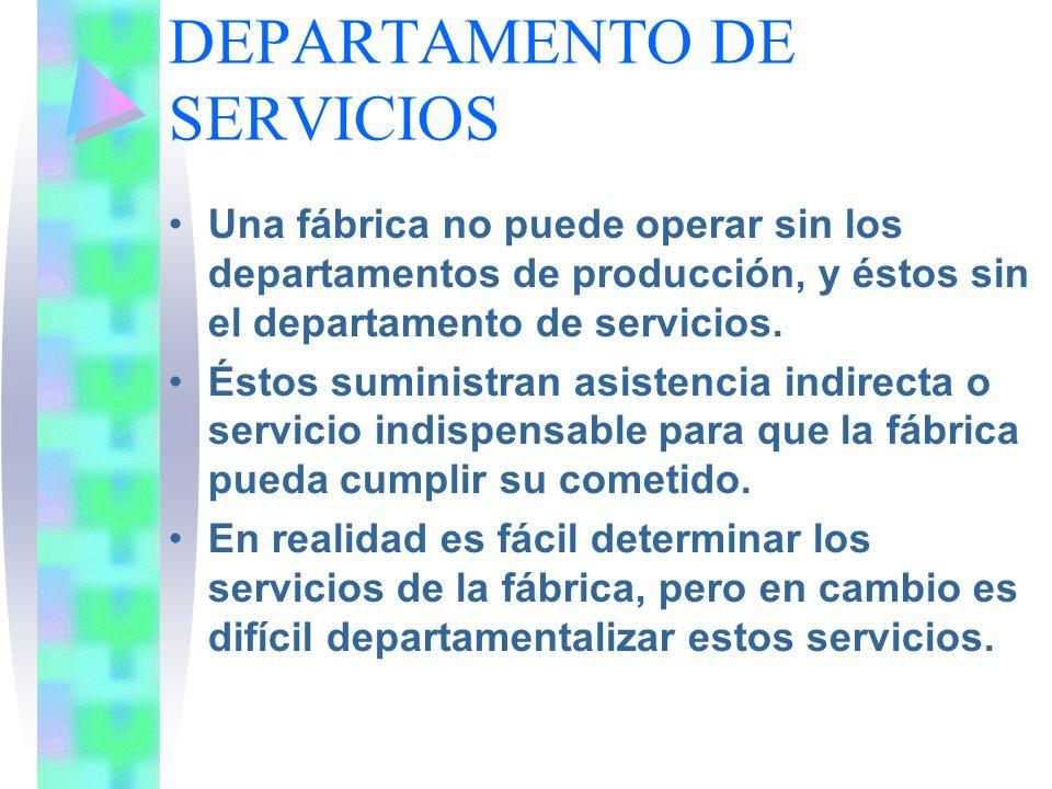 DEPARTAMENTO DE SERVICIOS Una fábrica no puede operar sin los departamentos de producción, y éstos sin el departamento de servicios. Éstos suministran