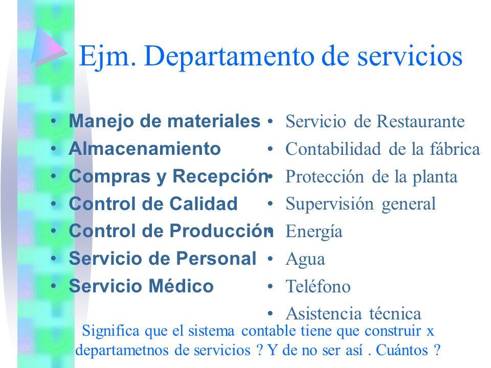 Ejm. Departamento de servicios Manejo de materiales Almacenamiento Compras y Recepción Control de Calidad Control de Producción Servicio de Personal S