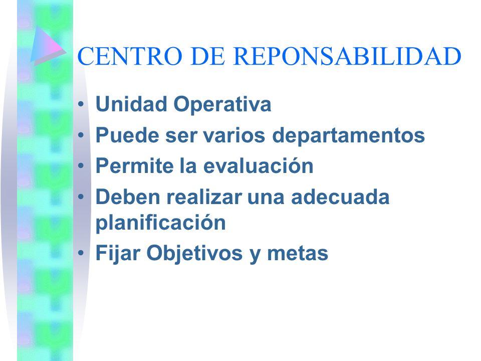 CENTRO DE REPONSABILIDAD Unidad Operativa Puede ser varios departamentos Permite la evaluación Deben realizar una adecuada planificación Fijar Objetiv