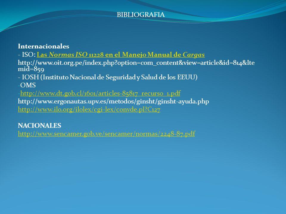 BIBLIOGRAFIA Internacionales - ISO: Las Normas ISO 11228 en el Manejo Manual de CargasLas Normas ISO 11228 en el Manejo Manual de Cargas http://www.oi