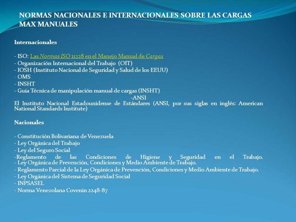 Internacionales - ISO: Las Normas ISO 11228 en el Manejo Manual de CargasLas Normas ISO 11228 en el Manejo Manual de Cargas - Organización Internacion