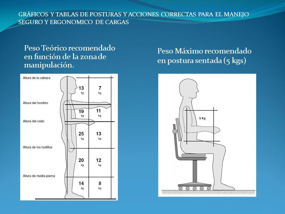 Peso Máximo recomendado en postura sentada (5 kgs) GRÁFICOS Y TABLAS DE POSTURAS Y ACCIONES CORRECTAS PARA EL MANEJO SEGURO Y ERGONOMICO DE CARGAS Pes