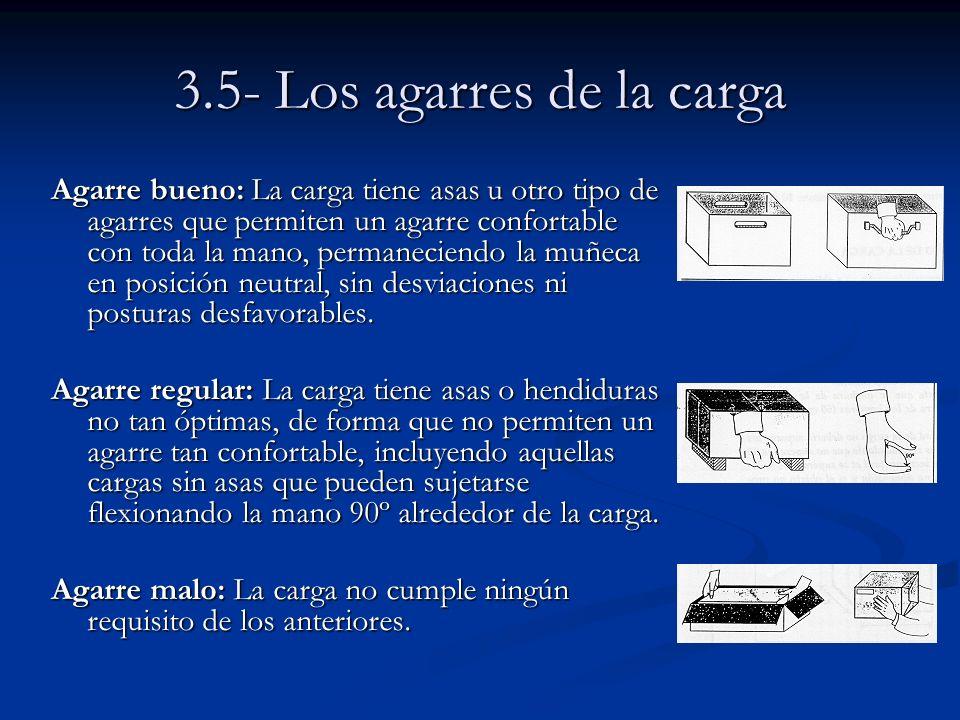 3.5- Los agarres de la carga Agarre bueno: La carga tiene asas u otro tipo de agarres que permiten un agarre confortable con toda la mano, permanecien