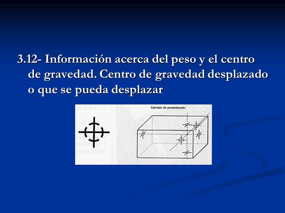 3.12- Información acerca del peso y el centro de gravedad. Centro de gravedad desplazado o que se pueda desplazar