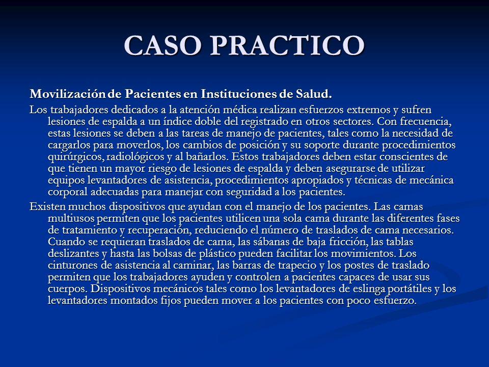 CASO PRACTICO Movilización de Pacientes en Instituciones de Salud. Los trabajadores dedicados a la atención médica realizan esfuerzos extremos y sufre