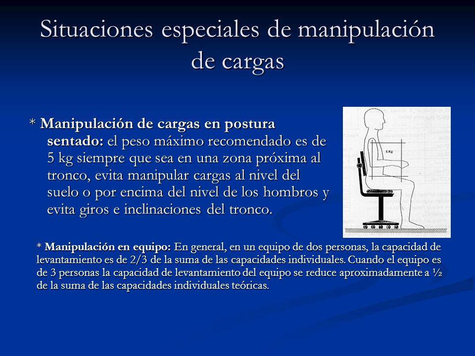 Situaciones especiales de manipulación de cargas * Manipulación de cargas en postura sentado: el peso máximo recomendado es de 5 kg siempre que sea en