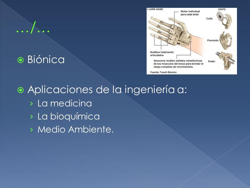 Biónica Aplicaciones de la ingeniería a: La medicina La bioquímica Medio Ambiente.