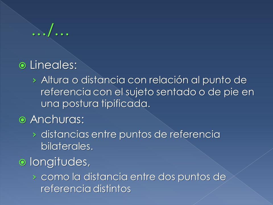 Lineales: Lineales: Altura o distancia con relación al punto de referencia con el sujeto sentado o de pie en una postura tipificada. Altura o distanci