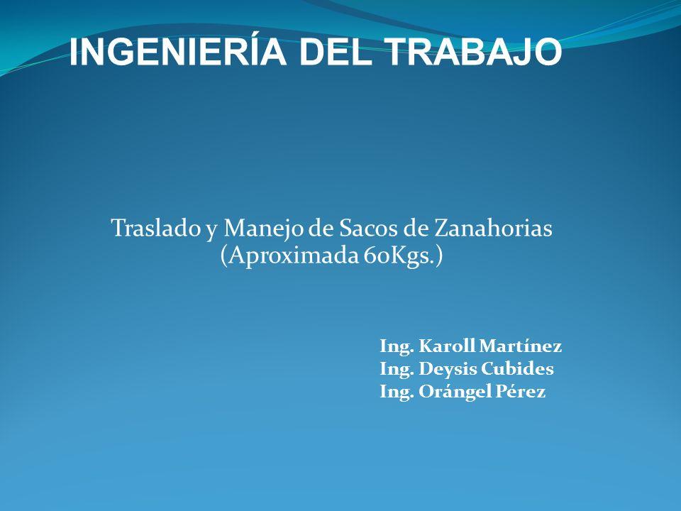 Traslado y Manejo de Sacos de Zanahorias (Aproximada 60Kgs.) Ing. Karoll Martínez Ing. Deysis Cubides Ing. Orángel Pérez INGENIERÍA DEL TRABAJO