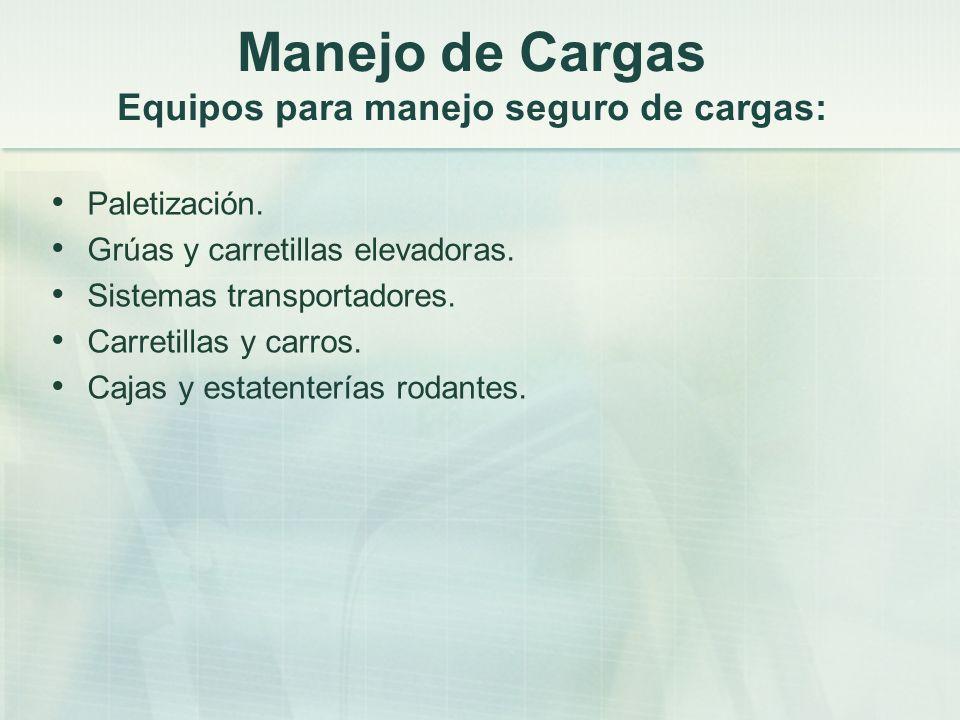 Manejo de Cargas Equipos para manejo seguro de cargas: Paletización. Grúas y carretillas elevadoras. Sistemas transportadores. Carretillas y carros. C