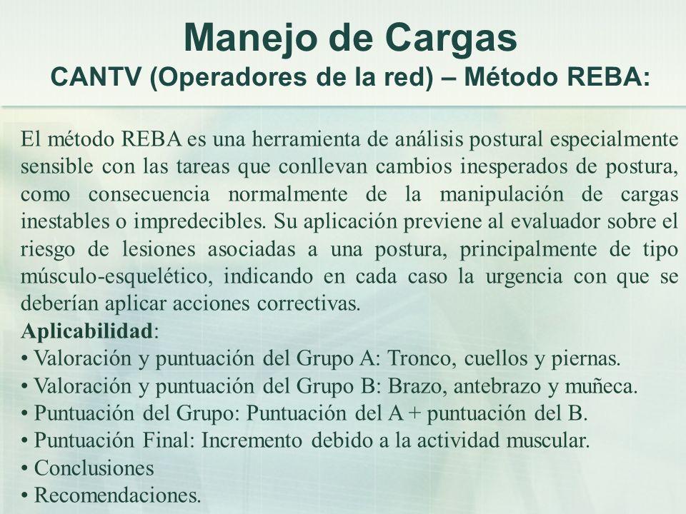Manejo de Cargas CANTV (Operadores de la red) – Método REBA: El método REBA es una herramienta de análisis postural especialmente sensible con las tar