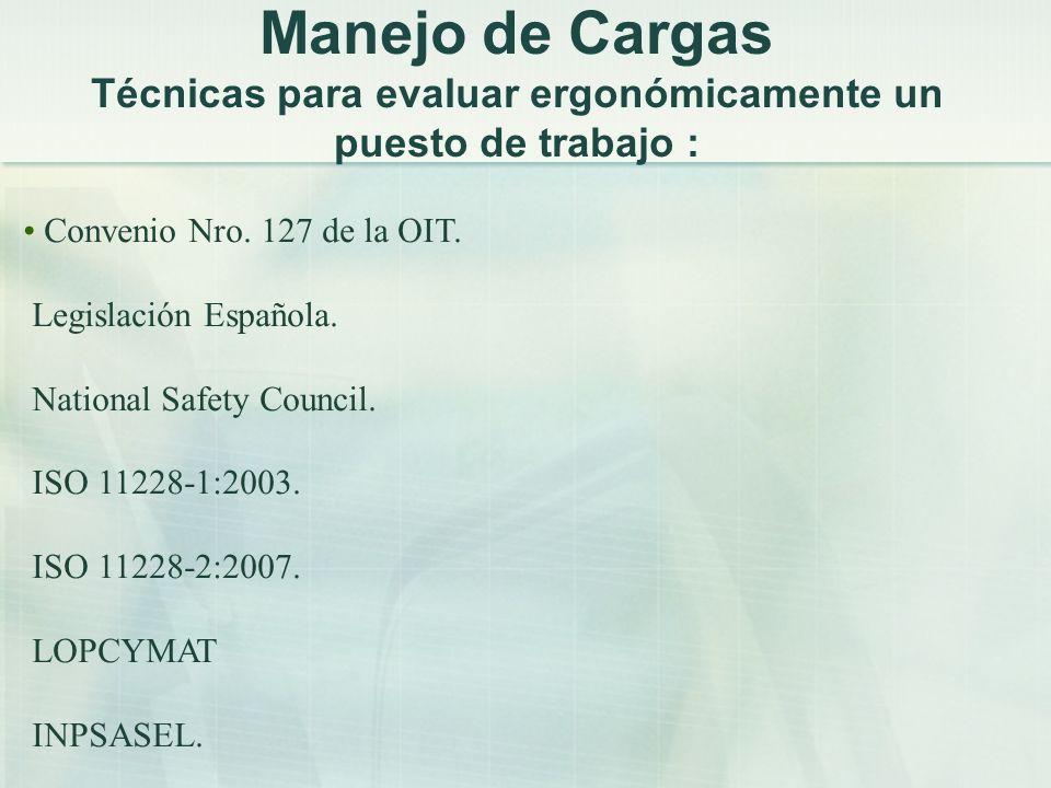 Manejo de Cargas Técnicas para evaluar ergonómicamente un puesto de trabajo : Convenio Nro. 127 de la OIT. Legislación Española. National Safety Counc