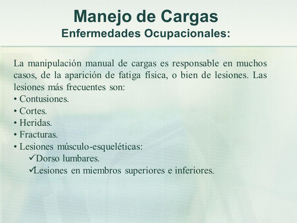Manejo de Cargas Enfermedades Ocupacionales: La manipulación manual de cargas es responsable en muchos casos, de la aparición de fatiga física, o bien