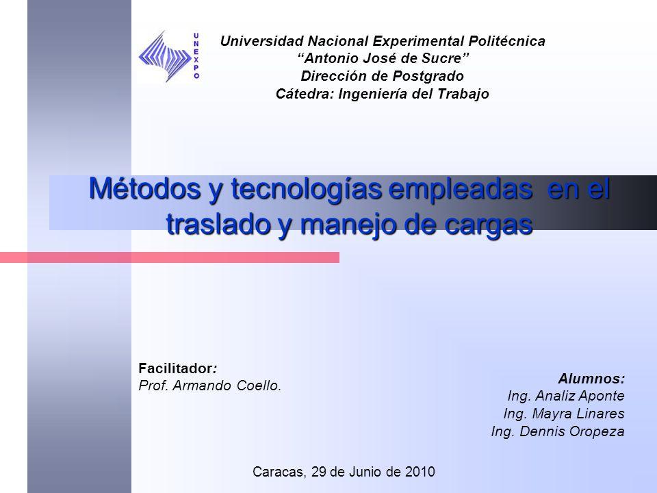Métodos y tecnologías empleadas en el traslado y manejo de cargas Universidad Nacional Experimental Politécnica Antonio José de Sucre Dirección de Pos