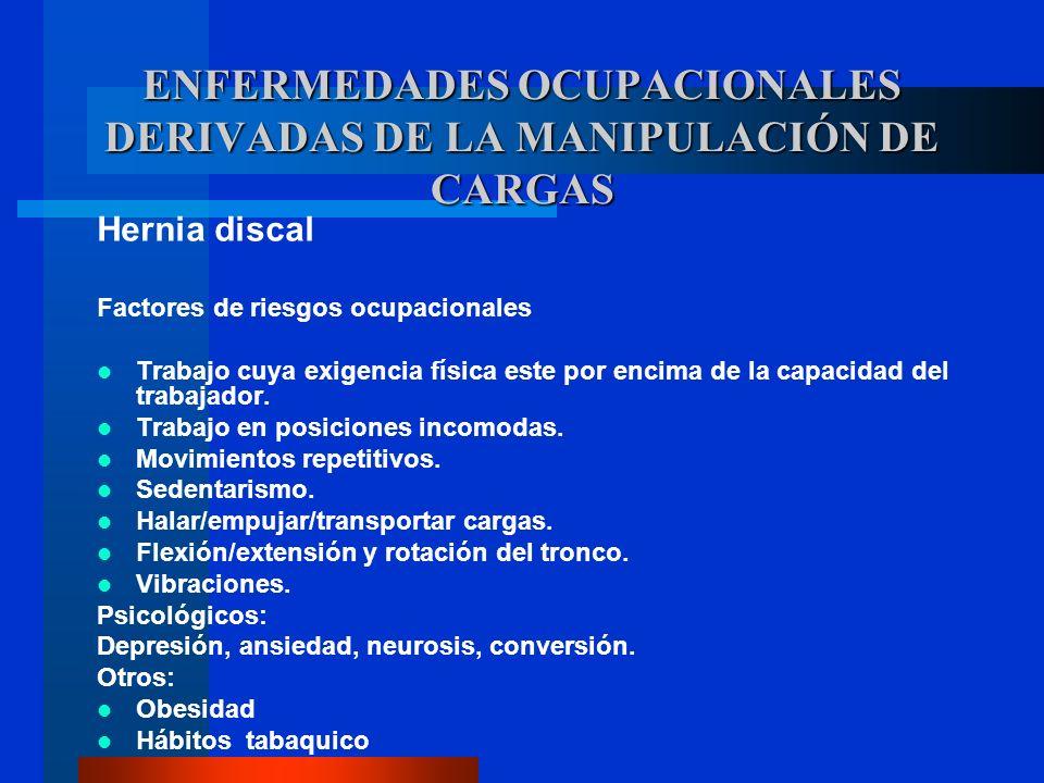 Hernia discal Factores de riesgos ocupacionales Trabajo cuya exigencia física este por encima de la capacidad del trabajador. Trabajo en posiciones in