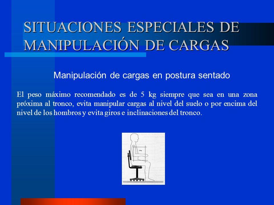 SITUACIONES ESPECIALES DE MANIPULACIÓN DE CARGAS Manipulación de cargas en postura sentado El peso máximo recomendado es de 5 kg siempre que sea en un