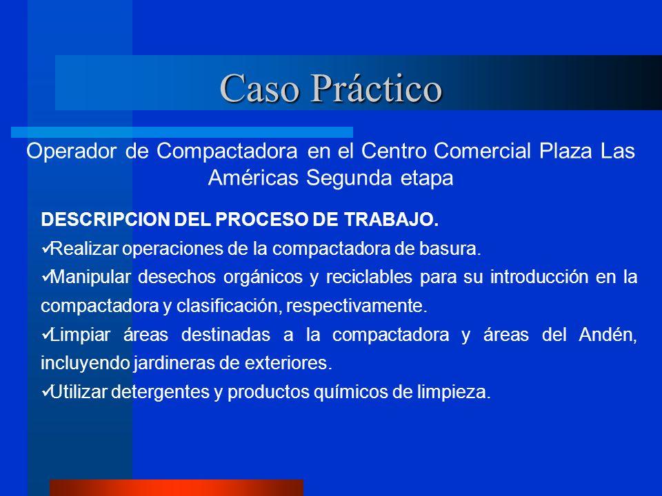 Caso Práctico Operador de Compactadora en el Centro Comercial Plaza Las Américas Segunda etapa DESCRIPCION DEL PROCESO DE TRABAJO. Realizar operacione