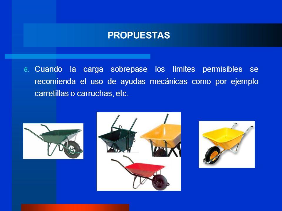 6. Cuando la carga sobrepase los límites permisibles se recomienda el uso de ayudas mecánicas como por ejemplo carretillas o carruchas, etc. PROPUESTA