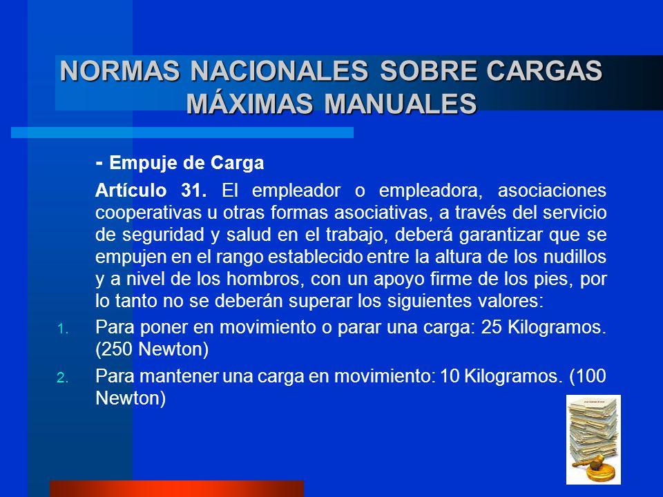 NORMAS NACIONALES SOBRE CARGAS MÁXIMAS MANUALES - Empuje de Carga Artículo 31. El empleador o empleadora, asociaciones cooperativas u otras formas aso