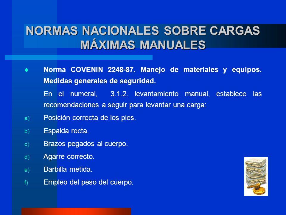 Norma COVENIN 2248-87. Manejo de materiales y equipos. Medidas generales de seguridad. En el numeral, 3.1.2. levantamiento manual, establece las recom