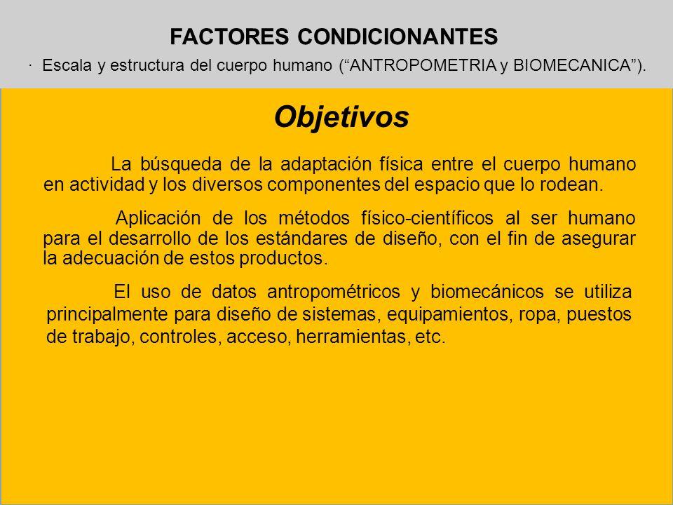 FACTORES CONDICIONANTES · Escala y estructura del cuerpo humano (ANTROPOMETRIA y BIOMECANICA). Objetivos La búsqueda de la adaptación física entre el