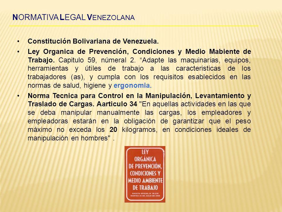 NORMATIVA LEGAL V ENEZOLANA Constitución Bolivariana de Venezuela. Ley Organica de Prevención, Condiciones y Medio Mabiente de Trabajo. Capitulo 59, n